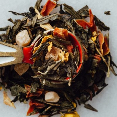Herbal tea loose leaf leaves with dried fruit pieces