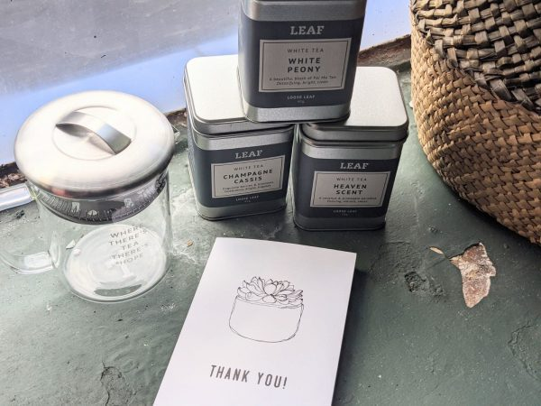 Three White Tea Tins and Teapot with a Thank You Card