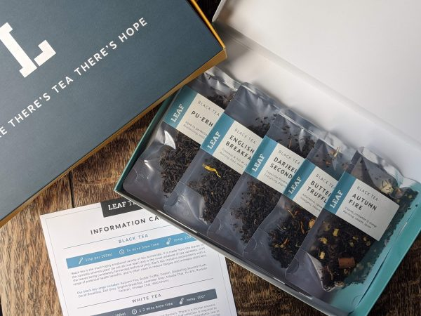 Leaf Tea Shop Black Tea Taster Box with Information Card and Five Loose Leaf Tea Packets