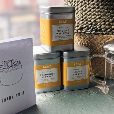 Three Herbal Tea Tins and Teapot with a Thank You Card