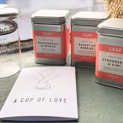 Three Fruit Tea Tins and Teapot with A Cup Of Love Card