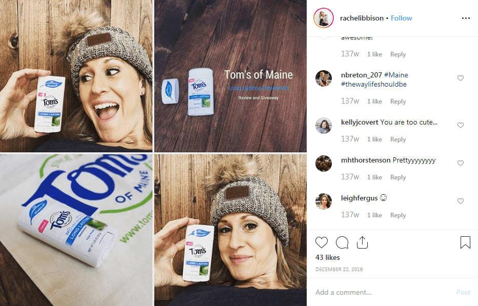 Tom's of Maine influencer campaign