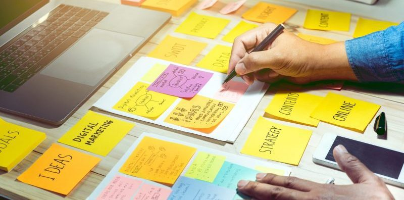 content marketing strategy of channels and ideas using postit notes