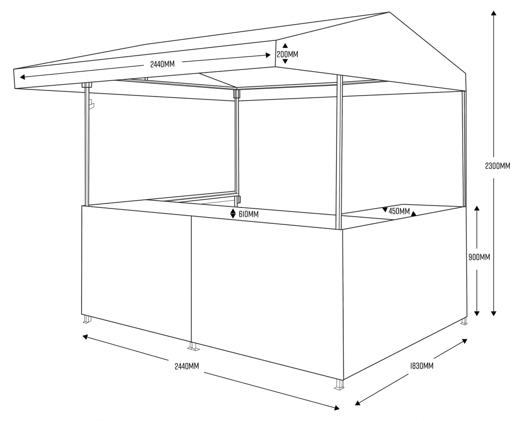 Big Kahuna Medium Hut with Dimensions