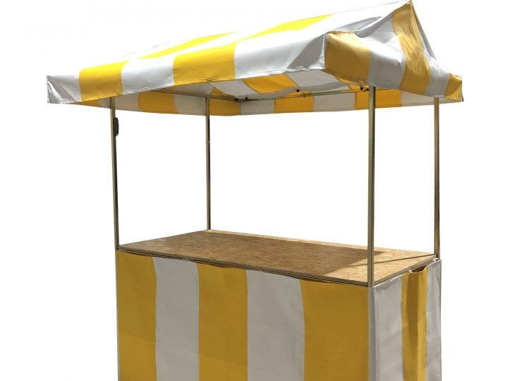 Yellow and white striped 6' x 3' Market stall