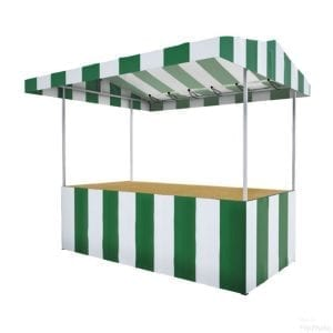 Green and white striped market stall