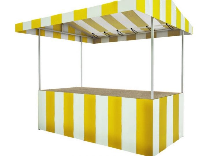 Yellow and white striped market stall