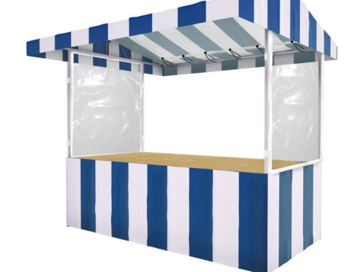 Blue and white striped market stall