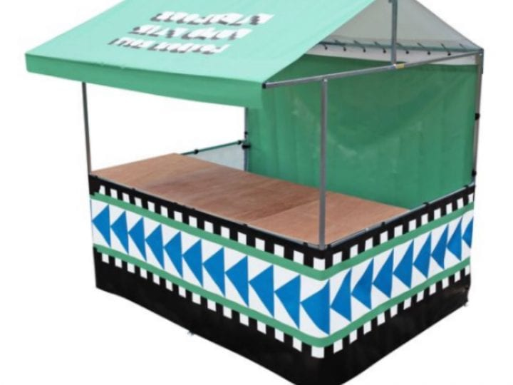 The Vincent Printed 8' x 6' Food market stall which is green and black