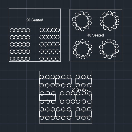 Image detailing how many seats can fit into a 6m Pagoda Marquee