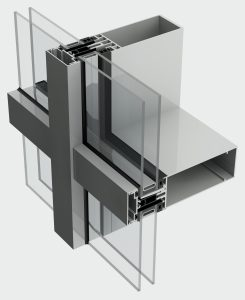 cross cut out image of aluminium curtain walling