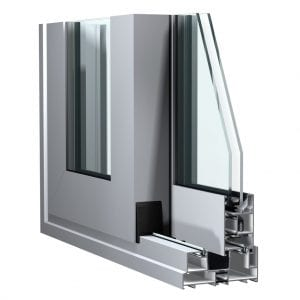 Corner cut out showing Aluminium Sliding door