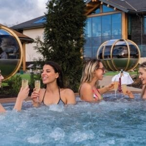 Four girls in the hot tub