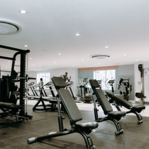 The leisure club gym with different equipment