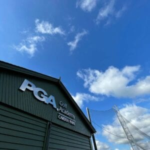 The outside building of the PGA Golf Academy