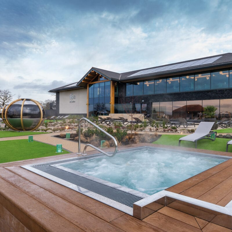 The outdoor hot tub at Carden park spa