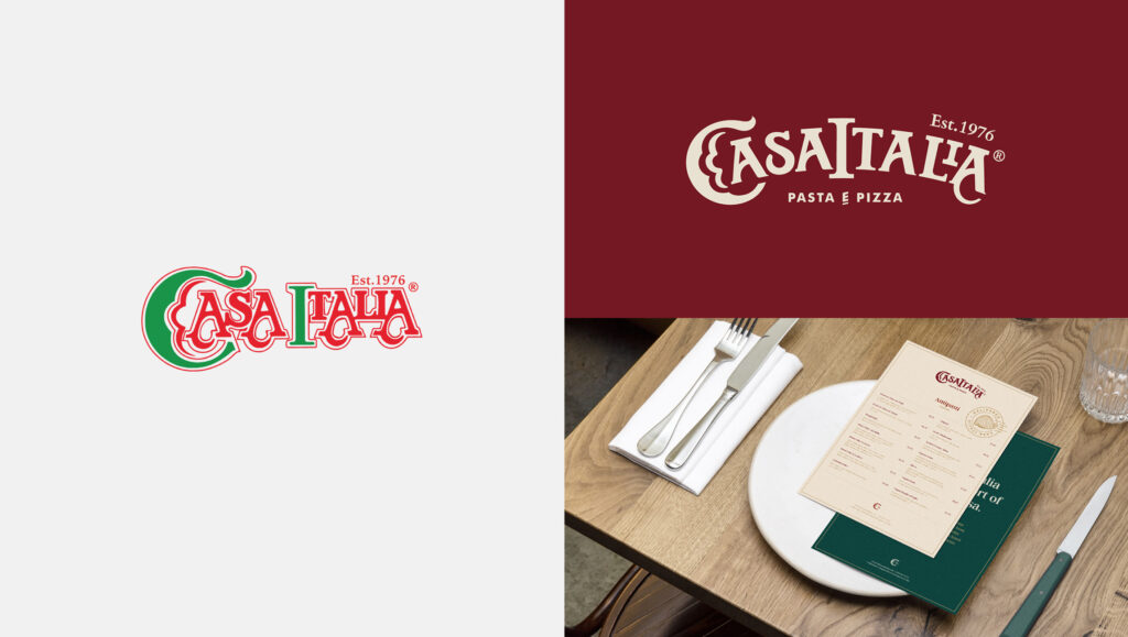 Casa Italia Brand Refresh showing old and new logos