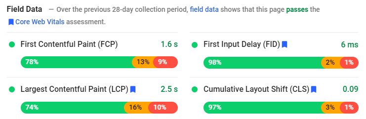 Page Speed Insights Field Data From a Studio Coact Client