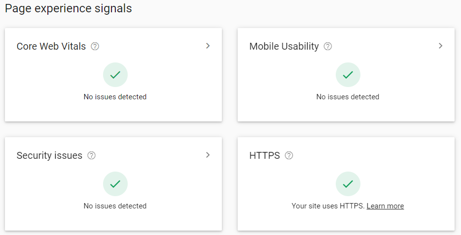 Page Experience Signals From Google Search Console