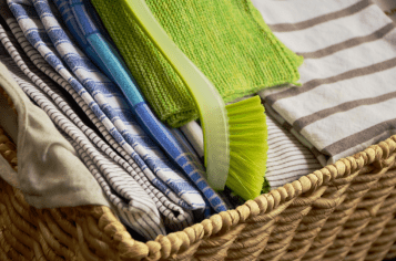 basket of tea towels