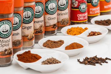 A mixture of spices in jars