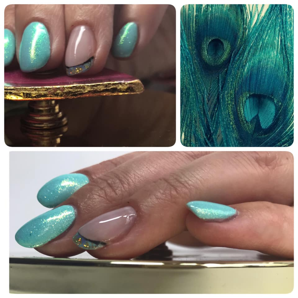 A group of images showing the different shades of light blue on nails and feathers