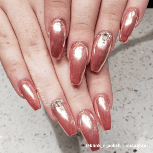 bronze chrome nails