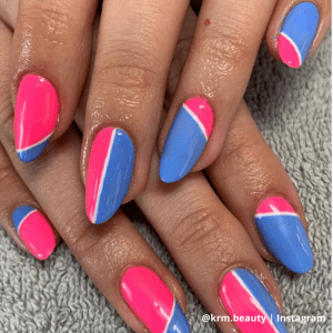 pink and blue colour block nails