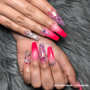 pink jewel looking nails